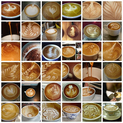 Photograph showing many cups of latte art